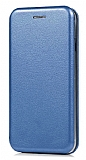 Samsung Galaxy A6 2018 Curve Manyetik Kapaklı Lacivert Deri Kılıf
