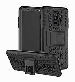 Samsung Galaxy A6 Plus 2018 Süper Koruma Standlı Siyah Kılıf