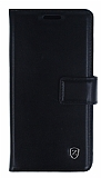 Samsung Galaxy A7 2016 C�zdanl� Yan Kapakl� Siyah Deri K�l�f