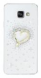Samsung Galaxy A7 2016 Taşlı Kalp Şeffaf Silikon Kılıf