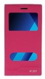 Samsung Galaxy A7 2017 Gizli Mıknatıslı Pencereli Pembe Deri Kılıf