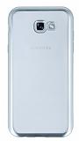 Samsung Galaxy A7 2017 Silver Kenarlı Şeffaf Silikon Kılıf