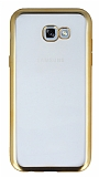 Samsung Galaxy A7 2017 Gold Kenarlı Şeffaf Silikon Kılıf