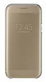 Samsung Galaxy A7 2017 Orjinal Clear View Uyku Modlu Gold Kılıf