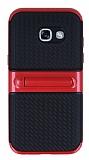 Samsung Galaxy A7 2017 Standlı Çizgili Kırmızı Silikon Kılıf