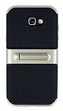 Samsung Galaxy A7 2017 Standlı Çizgili Gold Silikon Kılıf