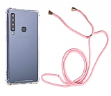 Samsung Galaxy A9 2018 Askılı Şeffaf Pembe Silikon Kılıf
