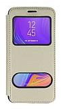 Samsung Galaxy A7 2018 Çift Pencereli Kapaklı Gold Kılıf