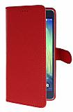 Samsung Galaxy A7 Cüzdanlı Yan Kapaklı Kırmızı Deri Kılıf