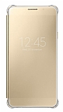 Samsung Galaxy A7 2016 Orjinal Clear View Uyku Modlu Gold Kılıf