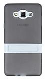 Samsung Galaxy A7 Standlı Şeffaf Siyah Silikon Kılıf