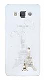 Samsung Galaxy A7 Taşlı Paris Şeffaf Silikon Kılıf