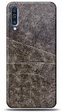 Samsung Galaxy A70 Silikon Kenarlı Kartlıklı Kahverengi Deri Kılıf