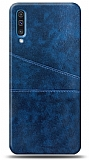 Samsung Galaxy A70 Silikon Kenarlı Kartlıklı Lacivert Deri Kılıf