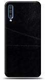 Samsung Galaxy A70 Silikon Kenarlı Kartlıklı Siyah Deri Kılıf
