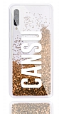 Samsung Galaxy A70s Kişiye Özel Simli Sulu Gold Rubber Kılıf