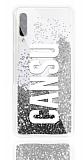 Samsung Galaxy A70s Kişiye Özel Simli Sulu Silver Rubber Kılıf