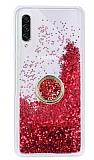 Samsung Galaxy A70s Simli Sulu Yüzük Tutuculu Kırmızı Rubber Kılıf