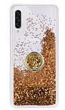 Samsung Galaxy A70s Simli Sulu Yüzük Tutuculu Gold Rubber Kılıf