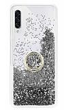 Samsung Galaxy A70s Simli Sulu Yüzük Tutuculu Silver Rubber Kılıf