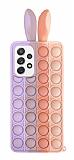 Samsung Galaxy A52 / A52 5G Push Pop Bubble Tavşan Mor-Pembe Silikon Kılıf