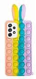 Samsung Galaxy A52 / A52 5G Push Pop Bubble Tavşan Mor-Mavi Silikon Kılıf