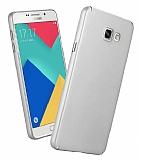 Samsung Galaxy A8 2016 Tam Kenar Koruma Silver Rubber Kılıf