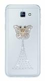Samsung Galaxy A8 2016 Taşlı Kelebek Şeffaf Silikon Kılıf