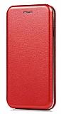 Samsung Galaxy A8 2018 Curve Manyetik Kapaklı Kırmızı Deri Kılıf