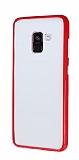 Samsung Galaxy A8 2018 Metal Tuşlu Kırmızı Silikon Kenarlı Şeffaf Kılıf