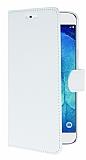 Samsung Galaxy A8 C�zdanl� Yan Kapakl� Beyaz Deri K�l�f