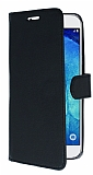 Samsung Galaxy A8 Cüzdanlı Yan Kapaklı Siyah Deri Kılıf