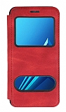 Samsung Galaxy A8 Plus 2018 Çift Pencereli Kapaklı Kırmızı Kılıf