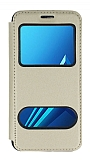 Samsung Galaxy A8 Plus 2018 Çift Pencereli Kapaklı Gold Kılıf