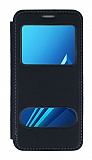 Samsung Galaxy A8 Plus 2018 Çift Pencereli Kapaklı Siyah Kılıf