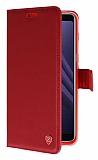 Samsung Galaxy A8 Plus 2018 Cüzdanlı Yan Kapaklı Kırmızı Deri Kılıf