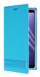 Samsung Galaxy A8 Plus 2018 Gizli Mıknatıslı Yan Kapaklı Mavi Deri Kılıf