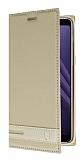 Samsung Galaxy A8 Plus 2018 Gizli Mıknatıslı Yan Kapaklı Gold Deri Kılıf