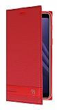 Samsung Galaxy A8 Plus 2018 Gizli Mıknatıslı Yan Kapaklı Kırmızı Deri Kılıf