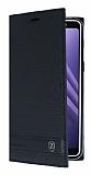 Samsung Galaxy A8 Plus 2018 Gizli Mıknatıslı Yan Kapaklı Siyah Deri Kılıf