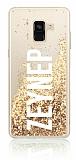 Samsung Galaxy A8 Plus 2018 Kişiye Özel Simli Sulu Gold Rubber Kılıf