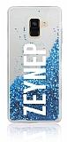 Samsung Galaxy A8 Plus 2018 Kişiye Özel Simli Sulu Mavi Rubber Kılıf