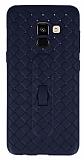 Samsung Galaxy A8 Plus 2018 Selfie Yüzüklü Hasır Desenli Lacivert Silikon Kılıf