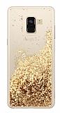 Samsung Galaxy A8 Plus 2018 Simli Sulu Gold Rubber Kılıf
