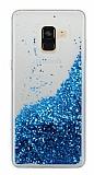 Samsung Galaxy A8 Plus 2018 Simli Sulu Mavi Rubber Kılıf