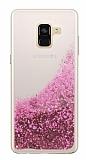 Samsung Galaxy A8 Plus 2018 Simli Sulu Pembe Rubber Kılıf