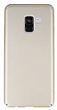 Samsung Galaxy A8 Plus 2018 Tam Kenar Koruma Gold Rubber Kılıf