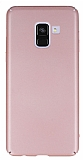 Samsung Galaxy A8 Plus 2018 Tam Kenar Koruma Rose Gold Rubber Kılıf