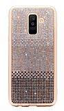 Samsung Galaxy A8 Plus 2018 Taşlı Geçişli Siyah Silikon Kılıf