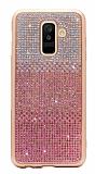 Samsung Galaxy A8 Plus 2018 Taşlı Geçişli Pembe Silikon Kılıf